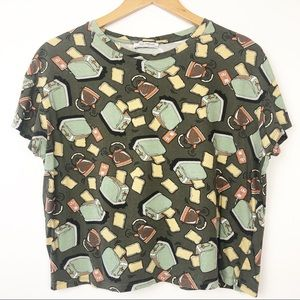 Zara Graphic T Shirt Toast - Toasters - Crop Fit